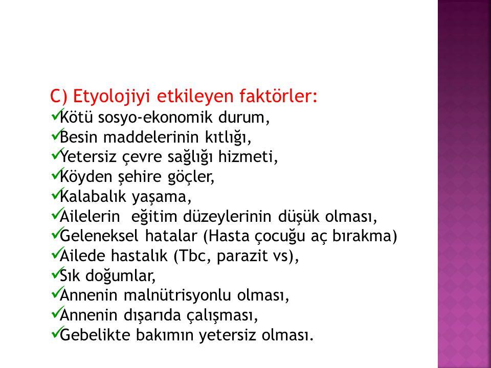 C) Etyolojiyi etkileyen faktörler: