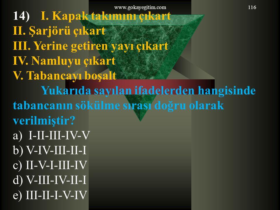 www.gokayegitim.com 14) I. Kapak takımını çıkart II. Şarjörü çıkart III. Yerine getiren yayı çıkart IV. Namluyu çıkart V. Tabancayı boşalt.