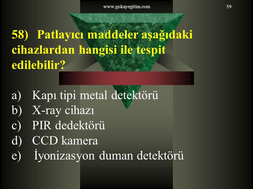 58) Patlayıcı maddeler aşağıdaki cihazlardan hangisi ile tespit