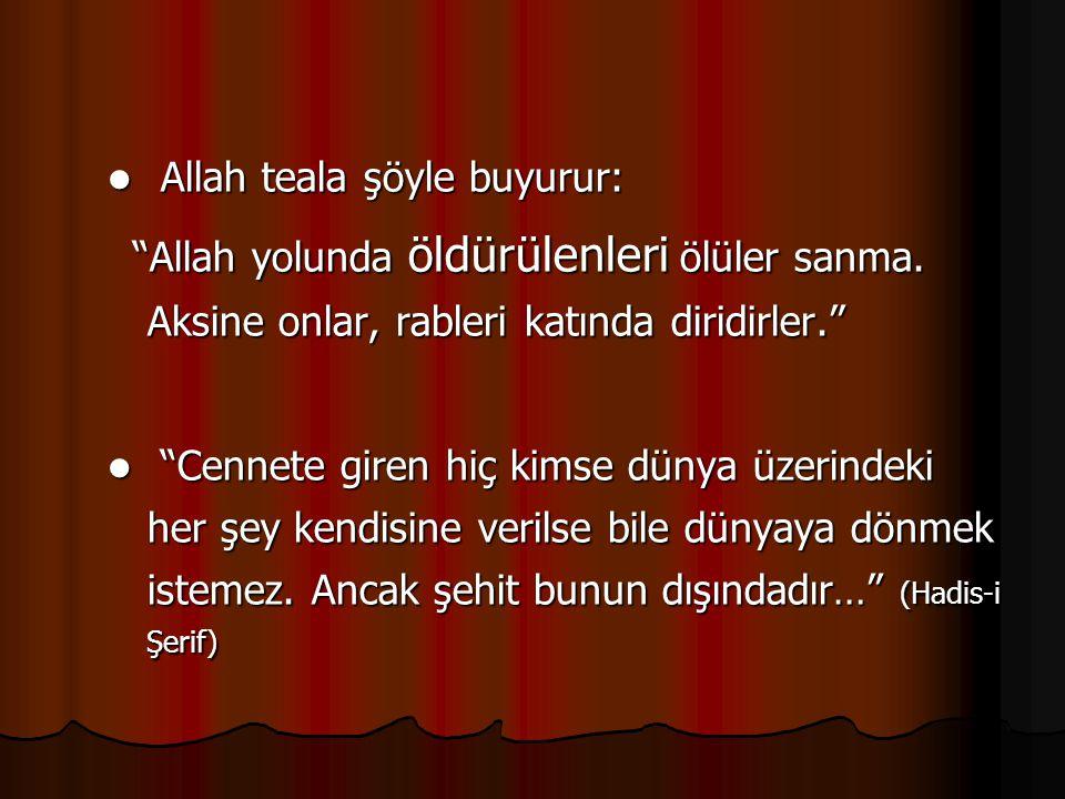 Allah teala şöyle buyurur: