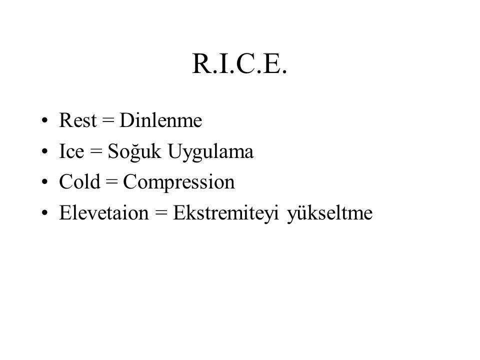 R.I.C.E. Rest = Dinlenme Ice = Soğuk Uygulama Cold = Compression