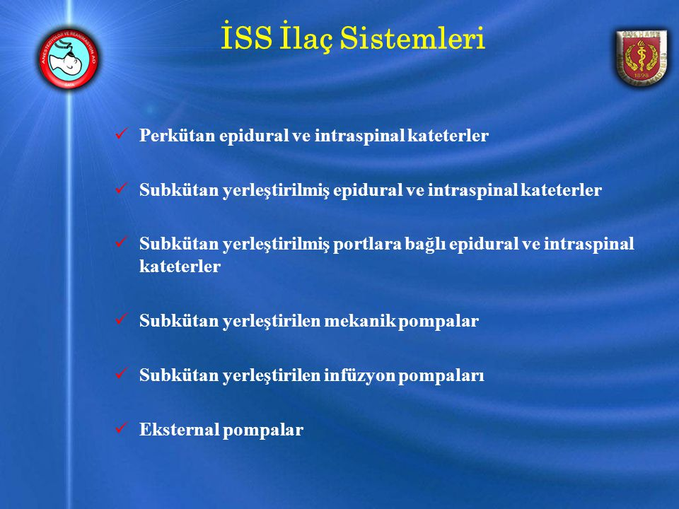 İSS İlaç Sistemleri Perkütan epidural ve intraspinal kateterler