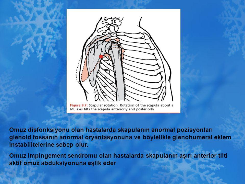 Omuz disfonksiyonu olan hastalarda skapulanın anormal pozisyonları glenoid fossanın anormal oryantasyonuna ve böylelikle glenohumeral eklem instabilitelerine sebep olur.