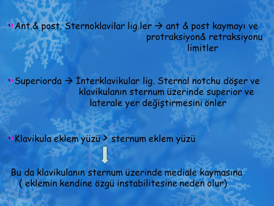 Ant.& post. Sternoklavilar lig.ler  ant & post kaymayı ve