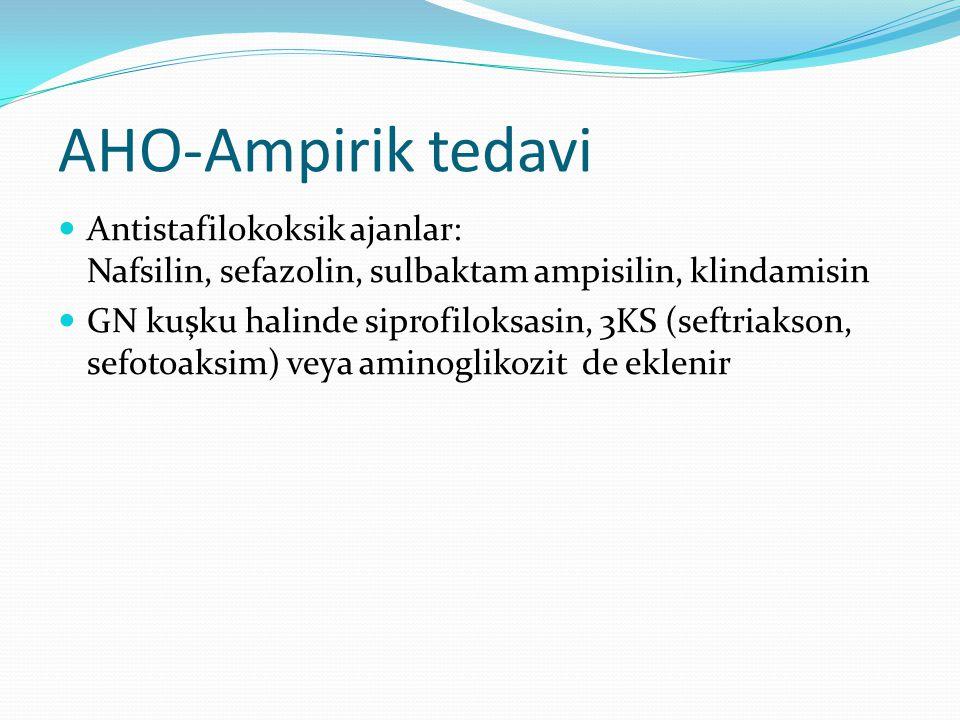 AHO-Ampirik tedavi Antistafilokoksik ajanlar: Nafsilin, sefazolin, sulbaktam ampisilin, klindamisin.
