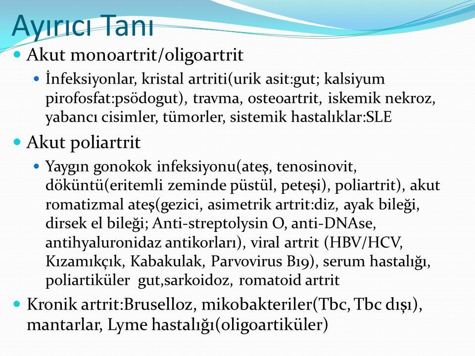 Ayırıcı Tanı Akut monoartrit/oligoartrit Akut poliartrit
