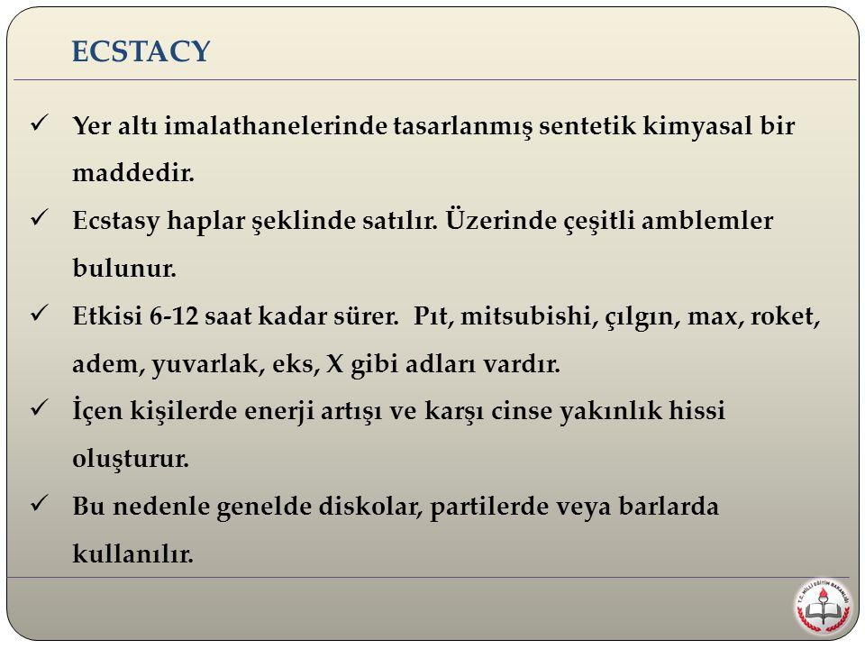 ECSTACY Yer altı imalathanelerinde tasarlanmış sentetik kimyasal bir maddedir. Ecstasy haplar şeklinde satılır. Üzerinde çeşitli amblemler bulunur.