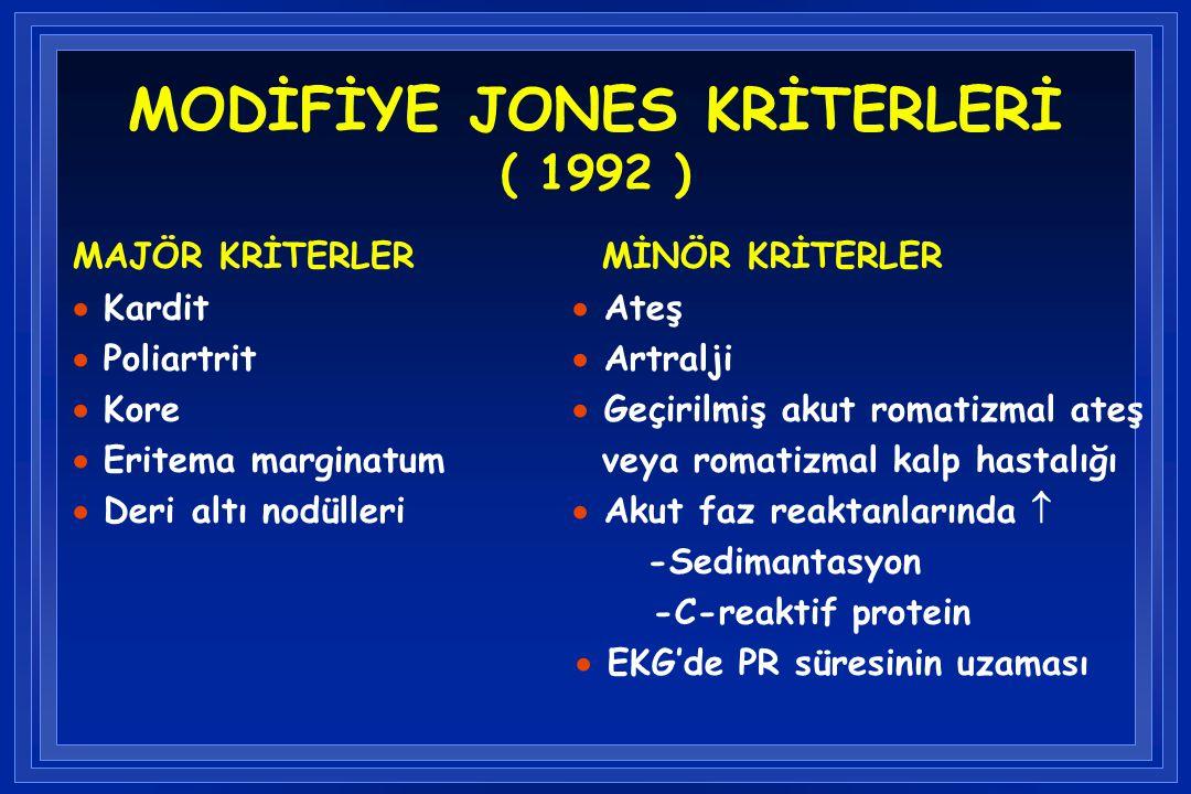 MODİFİYE JONES KRİTERLERİ ( 1992 )
