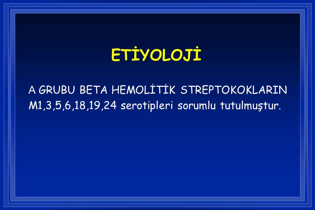 ETİYOLOJİ A GRUBU BETA HEMOLİTİK STREPTOKOKLARIN