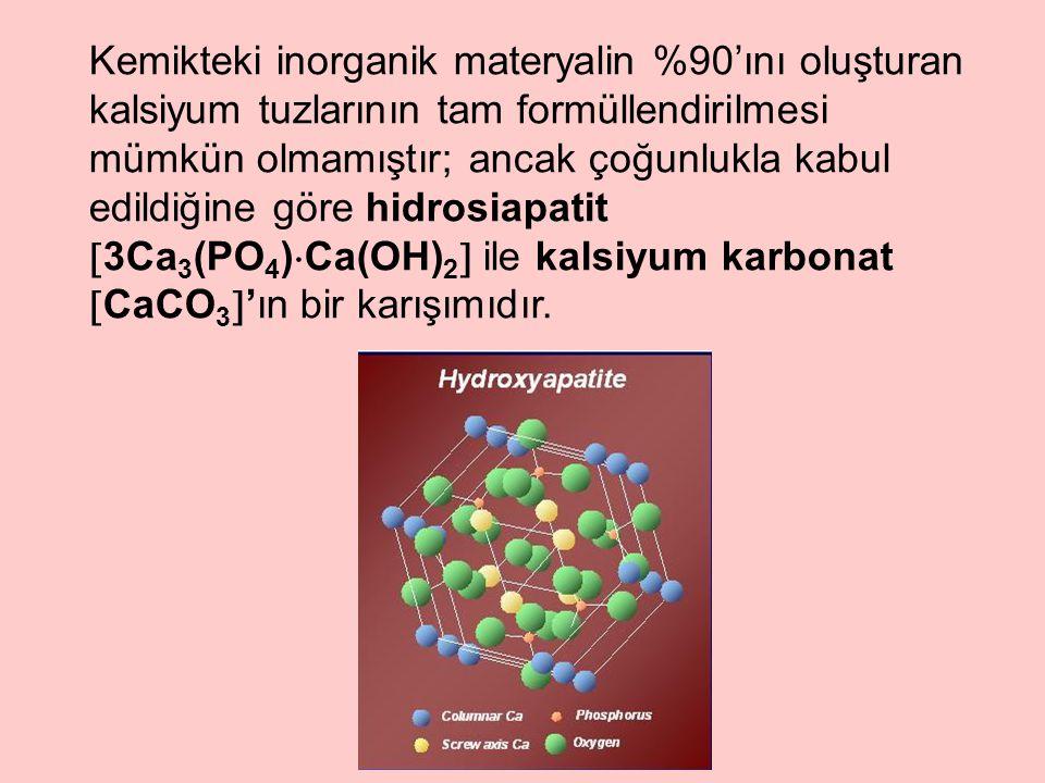 Kemikteki inorganik materyalin %90'ını oluşturan kalsiyum tuzlarının tam formüllendirilmesi mümkün olmamıştır; ancak çoğunlukla kabul edildiğine göre hidrosiapatit 3Ca3(PO4)Ca(OH)2 ile kalsiyum karbonat CaCO3'ın bir karışımıdır.