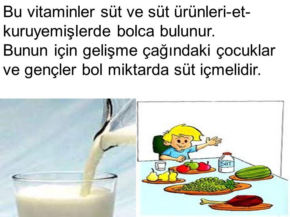 Bu vitaminler süt ve süt ürünleri-et-kuruyemişlerde bolca bulunur.