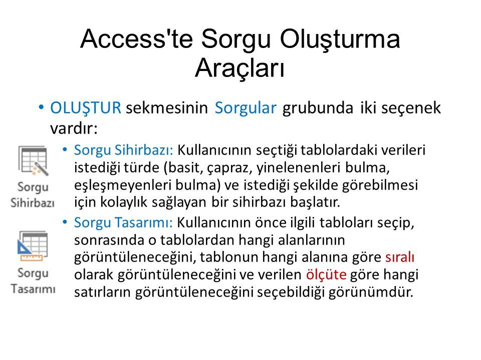Access te Sorgu Oluşturma Araçları