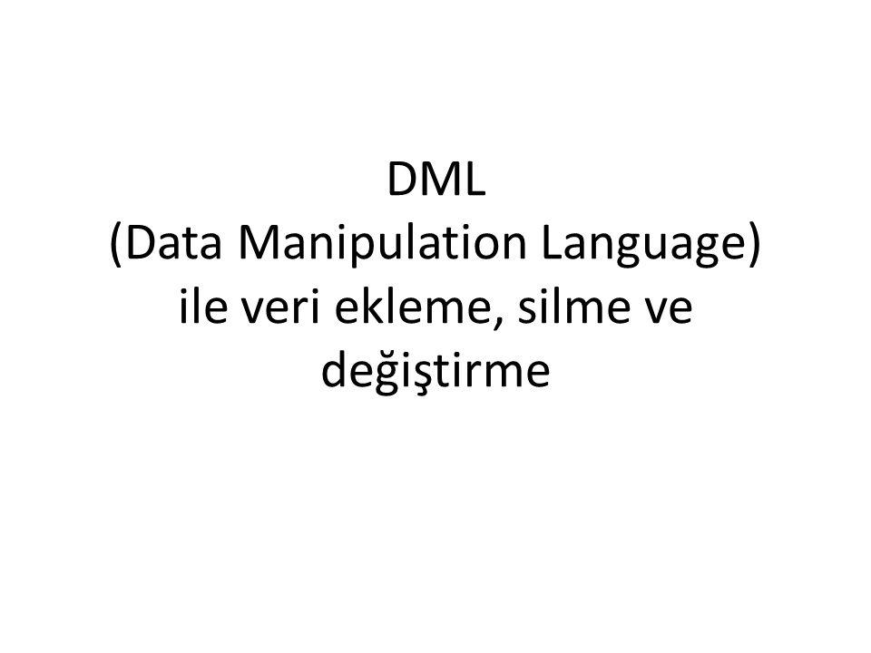 DML (Data Manipulation Language) ile veri ekleme, silme ve değiştirme