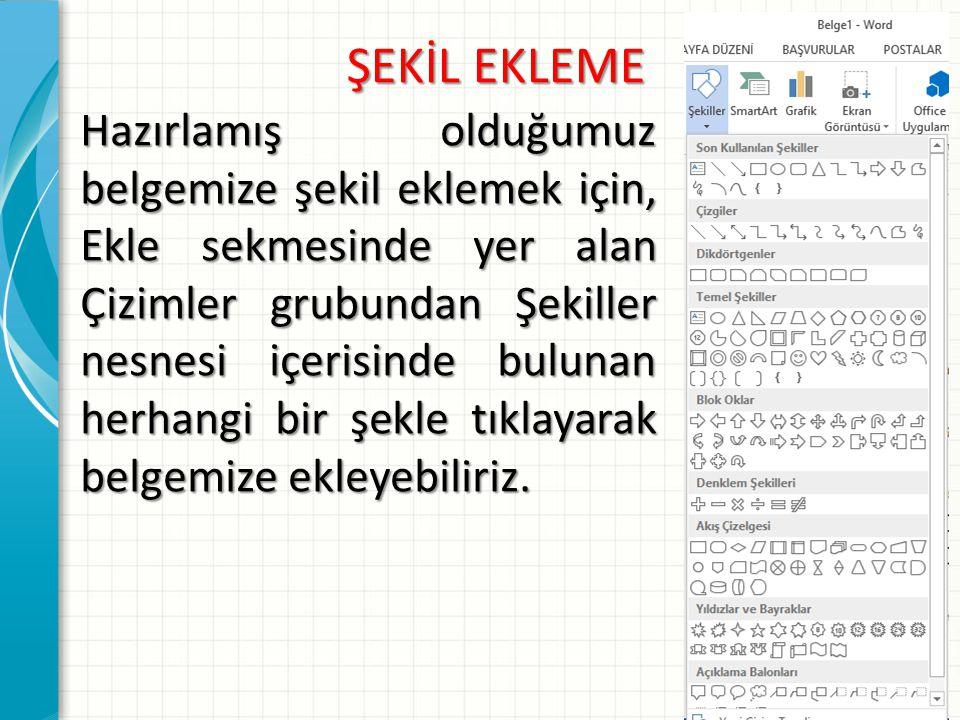 ŞEKİL EKLEME