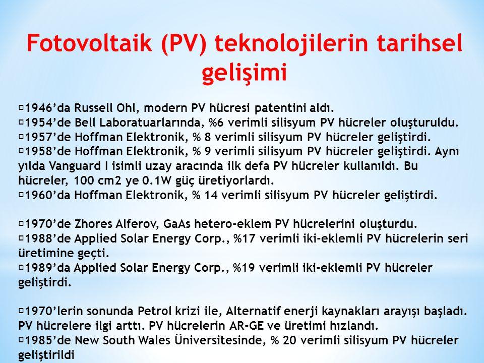 Fotovoltaik (PV) teknolojilerin tarihsel gelişimi