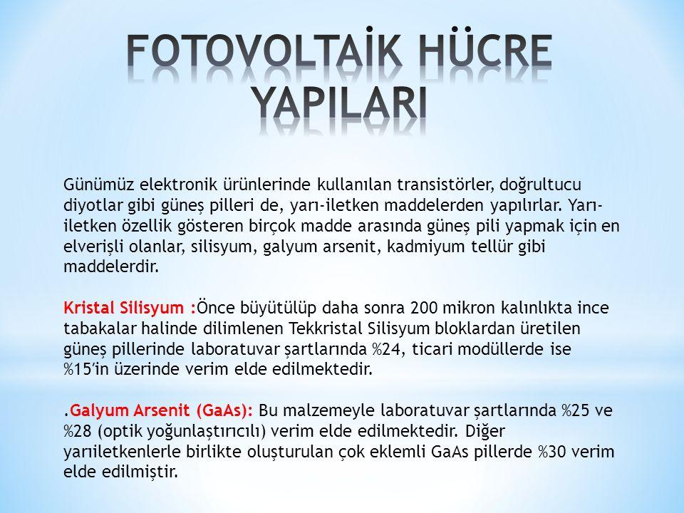 FOTOVOLTAİK HÜCRE YAPILARI