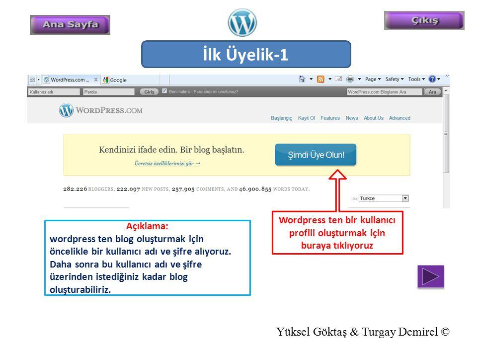Wordpress ten bir kullanıcı profili oluşturmak için buraya tıklıyoruz