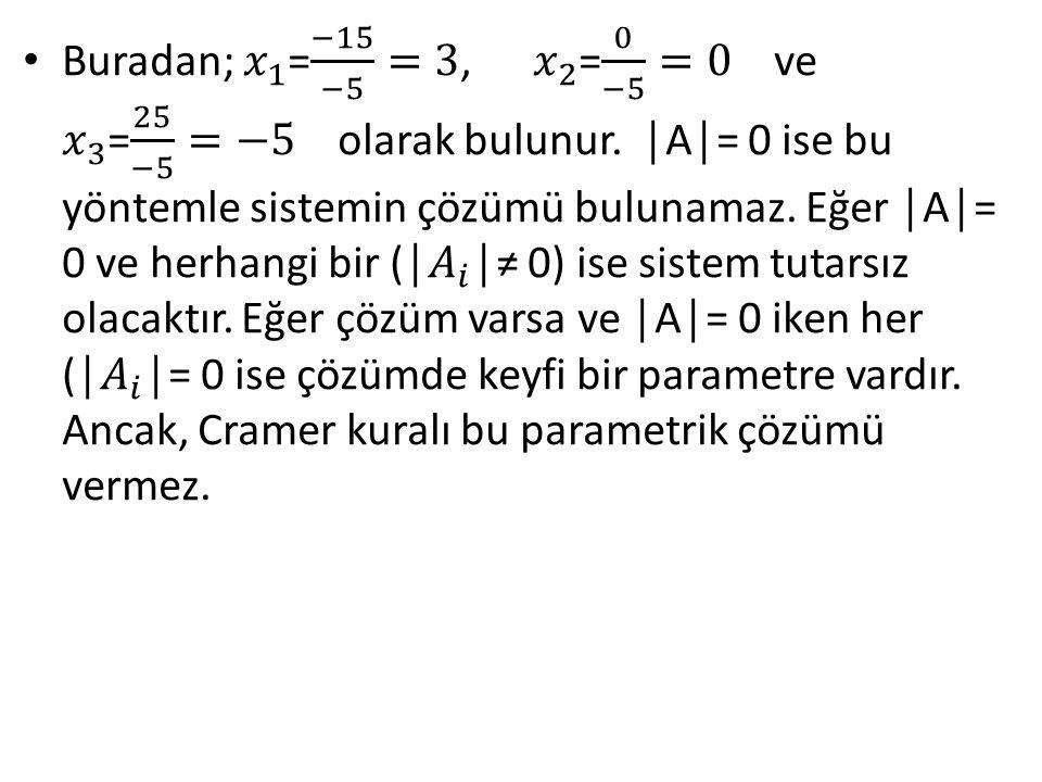 Buradan; 𝑥 1 = −15 −5 =3, 𝑥 2 = 0 −5 =0 ve 𝑥 3 = 25 −5 =−5 olarak bulunur.