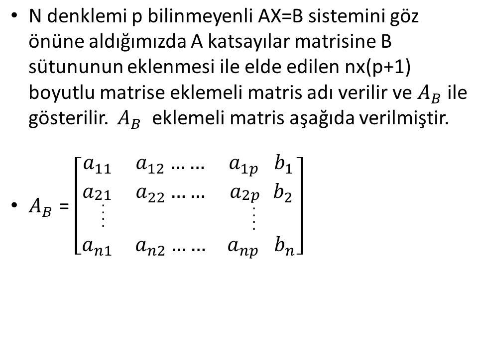 N denklemi p bilinmeyenli AX=B sistemini göz önüne aldığımızda A katsayılar matrisine B sütununun eklenmesi ile elde edilen nx(p+1) boyutlu matrise eklemeli matris adı verilir ve 𝐴 𝐵 ile gösterilir. 𝐴 𝐵 eklemeli matris aşağıda verilmiştir.