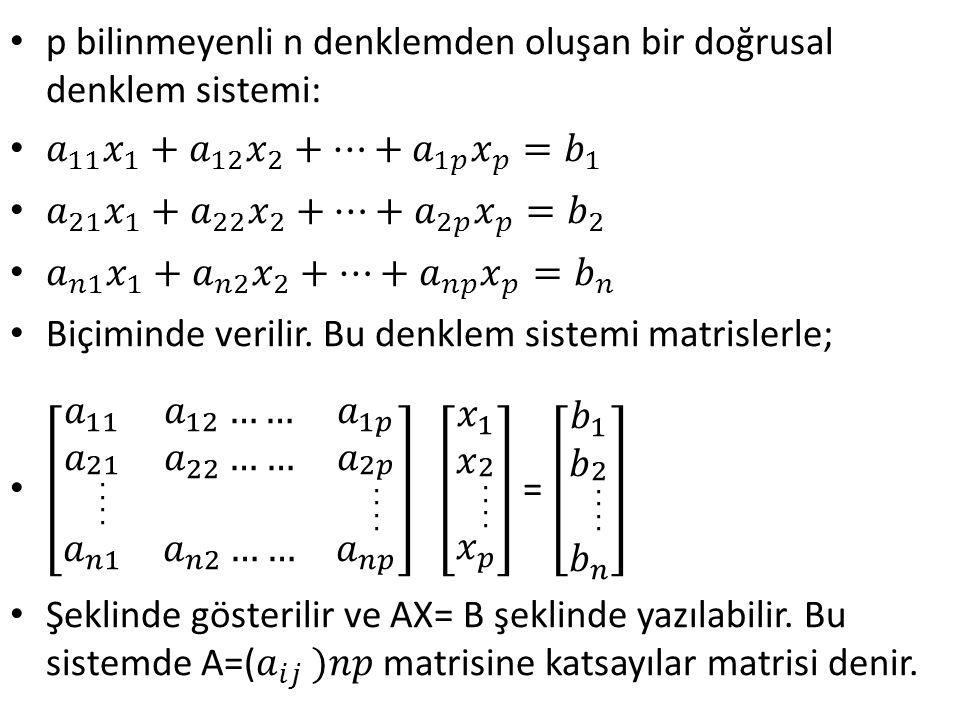 p bilinmeyenli n denklemden oluşan bir doğrusal denklem sistemi:
