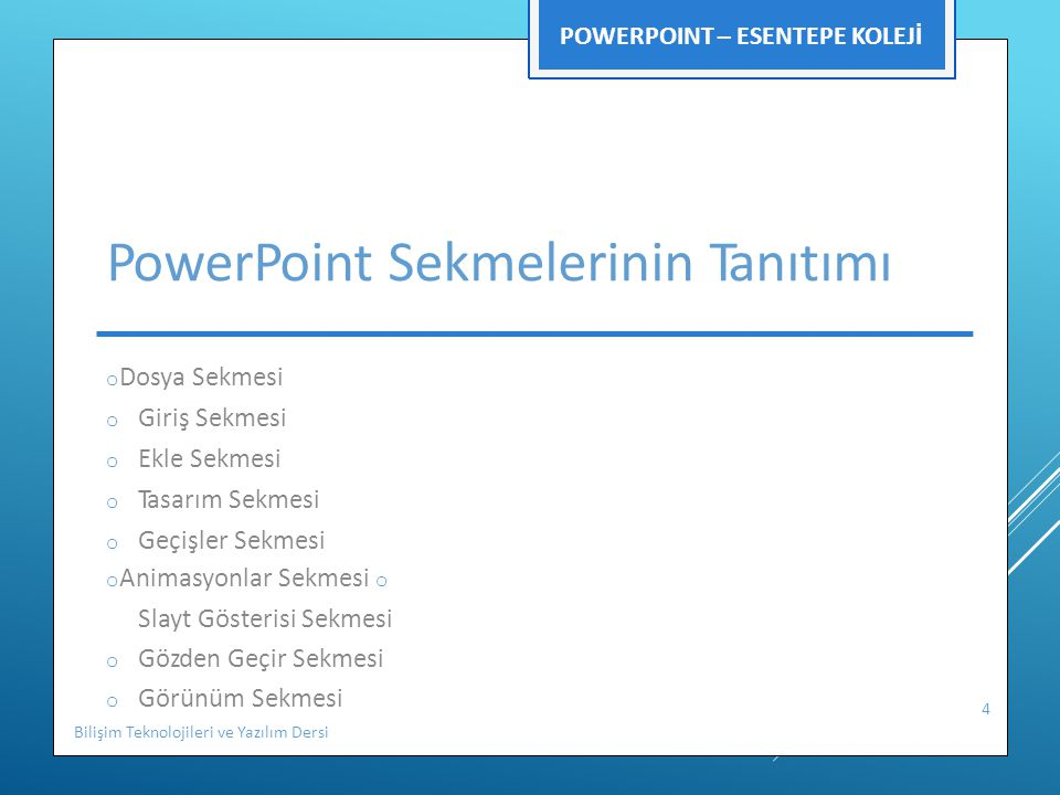 PowerPoint Sekmelerinin Tanıtımı
