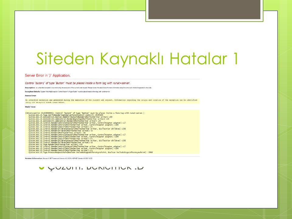 Siteden Kaynaklı Hatalar 1