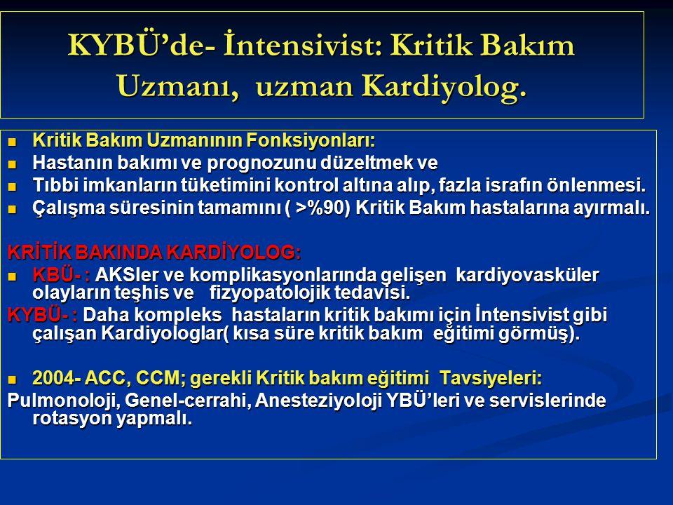 KYBÜ'de- İntensivist: Kritik Bakım Uzmanı, uzman Kardiyolog.