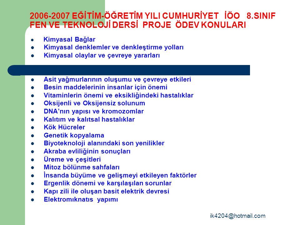 2006-2007 EĞİTİM-ÖĞRETİM YILI CUMHURİYET İÖO 8
