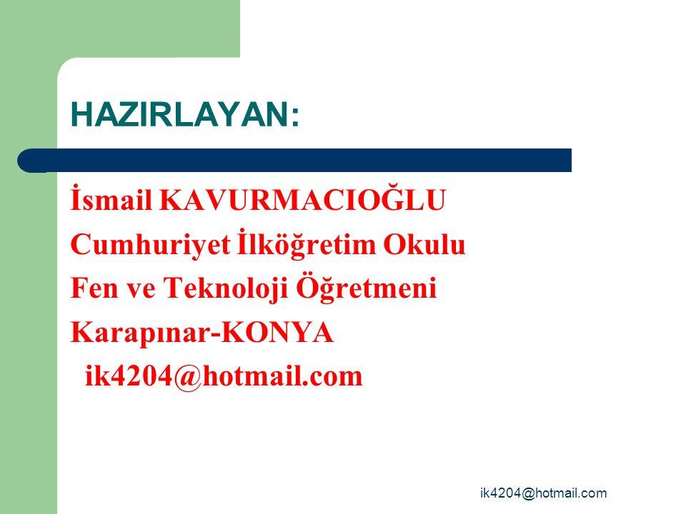 HAZIRLAYAN: İsmail KAVURMACIOĞLU Cumhuriyet İlköğretim Okulu