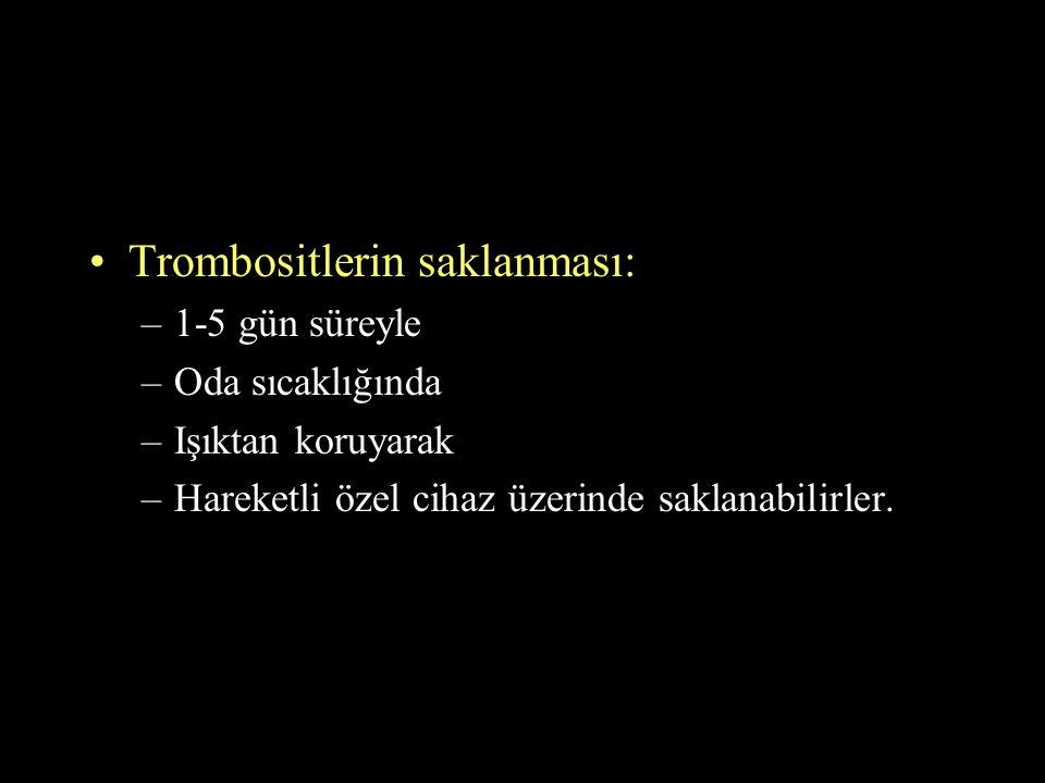 Trombositlerin saklanması: