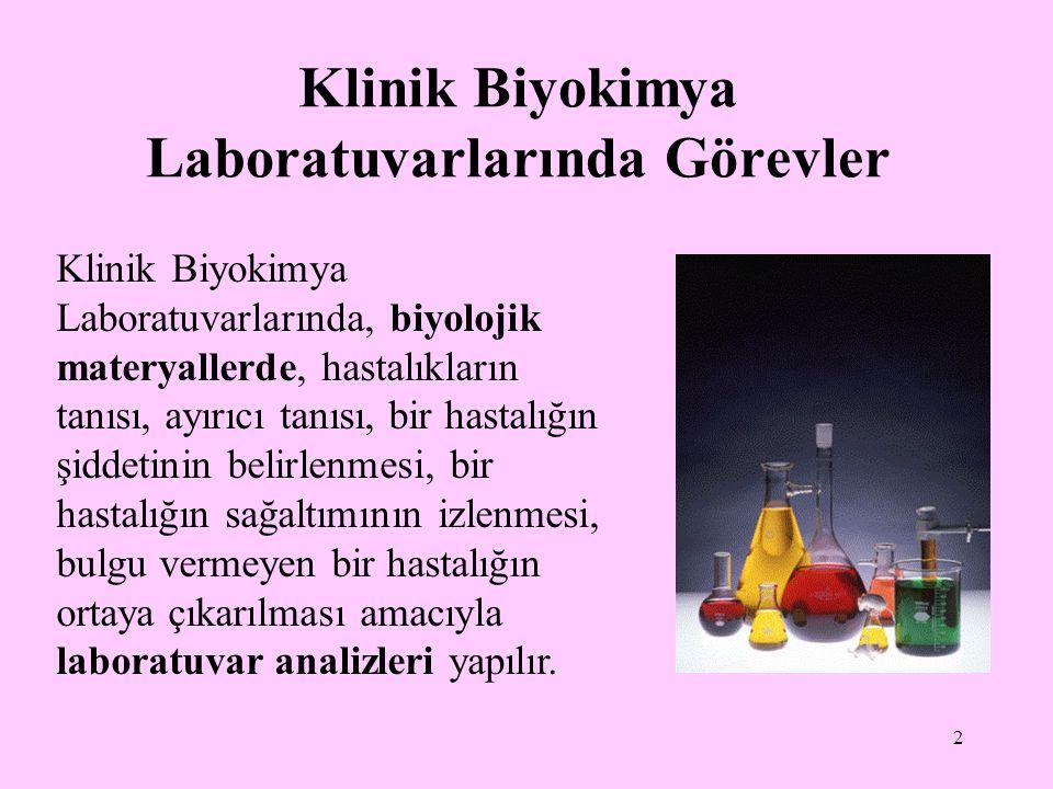 Klinik Biyokimya Laboratuvarlarında Görevler