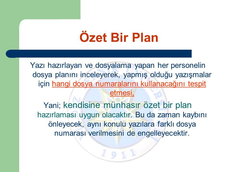 Özet Bir Plan