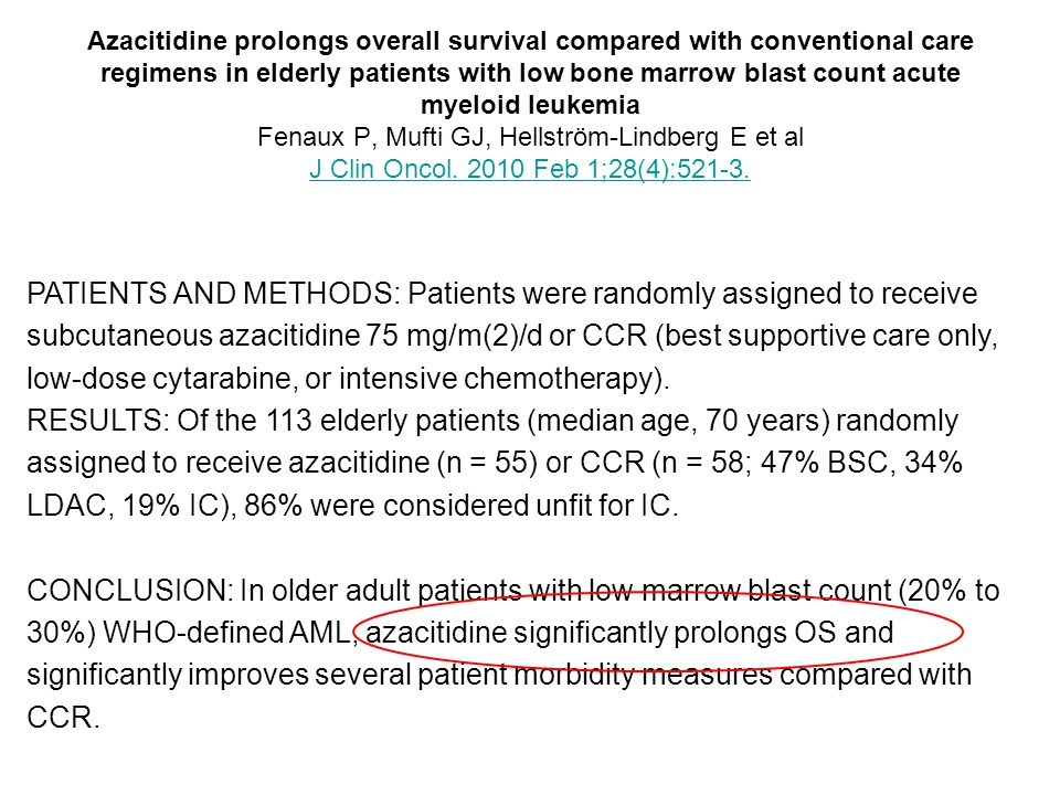 Azacitidine prolongs overall survival compared with conventional care regimens in elderly patients with low bone marrow blast count acute myeloid leukemia Fenaux P, Mufti GJ, Hellström-Lindberg E et al J Clin Oncol. 2010 Feb 1;28(4):521-3.