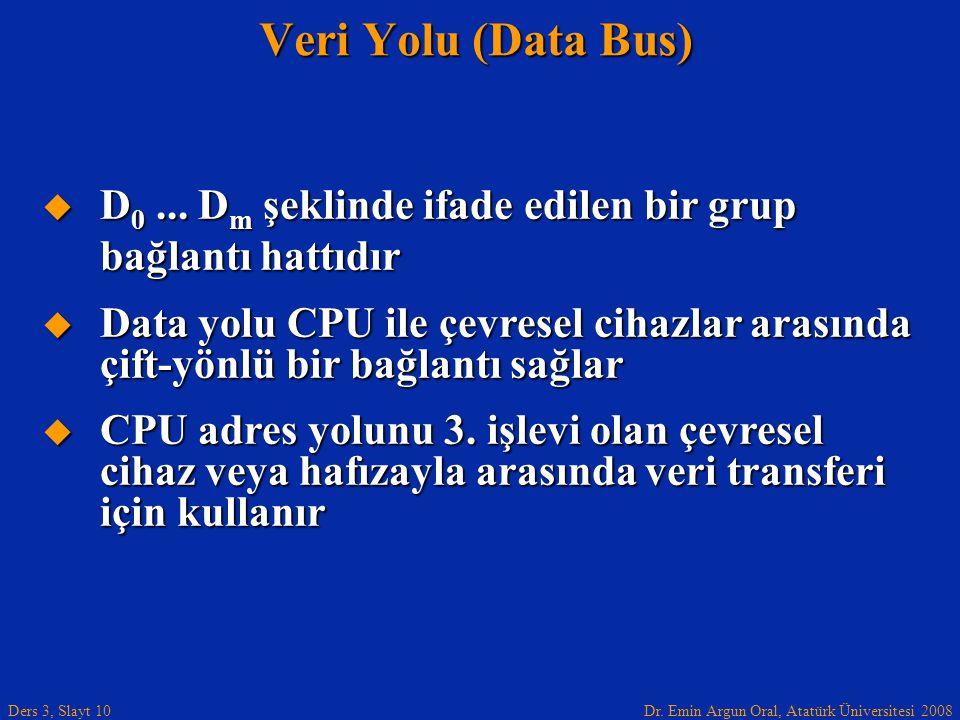Veri Yolu (Data Bus) D0 ... Dm şeklinde ifade edilen bir grup bağlantı hattıdır.