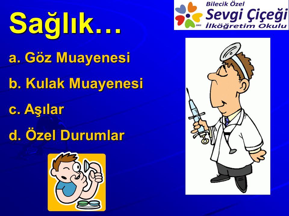 Sağlık… Göz Muayenesi Kulak Muayenesi Aşılar Özel Durumlar