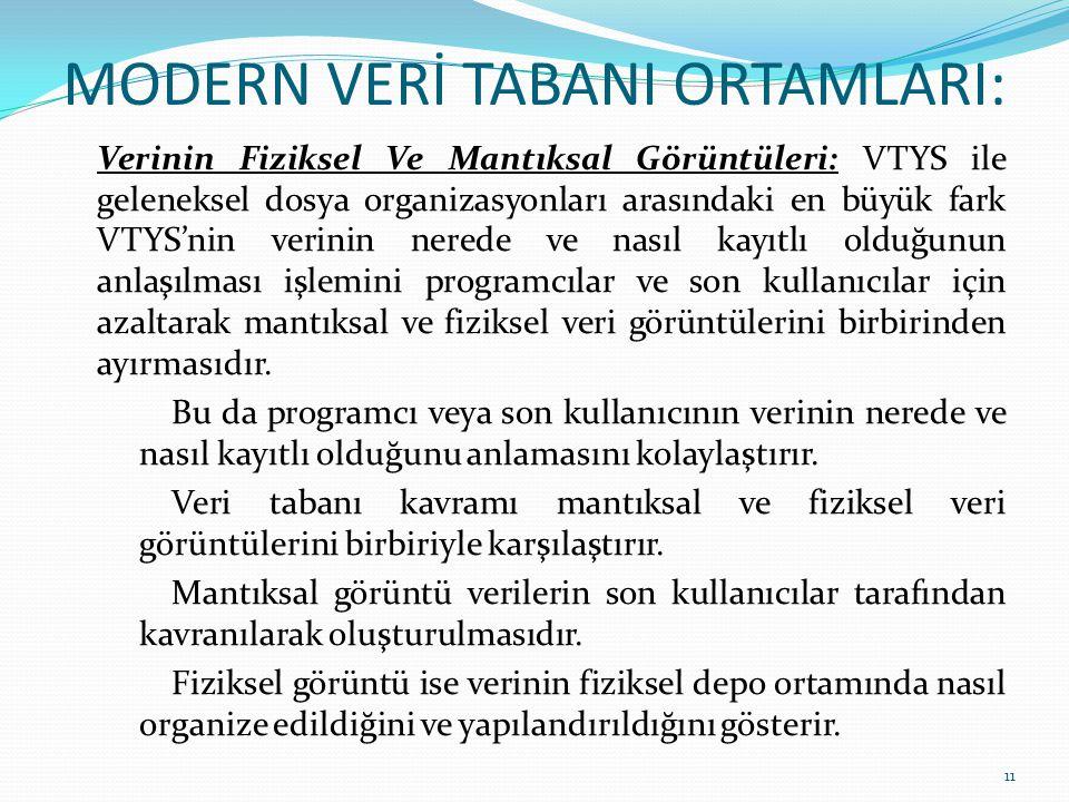 MODERN VERİ TABANI ORTAMLARI: