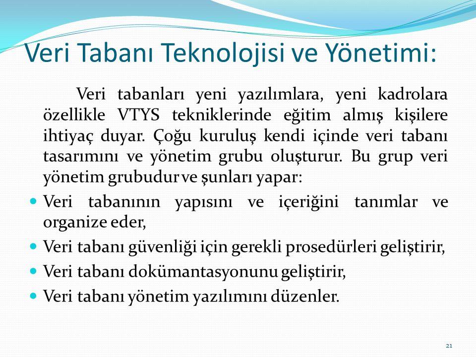 Veri Tabanı Teknolojisi ve Yönetimi: