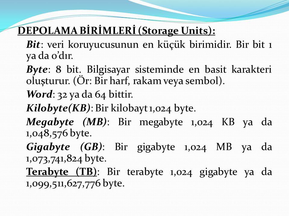 DEPOLAMA BİRİMLERİ (Storage Units): Bit: veri koruyucusunun en küçük birimidir.