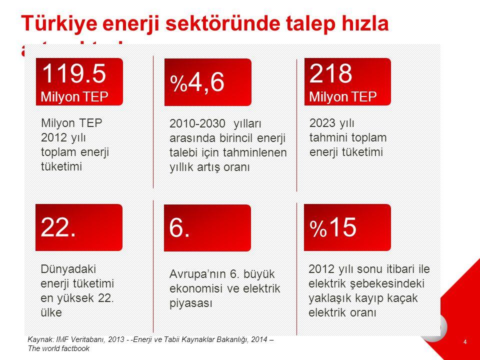 Türkiye enerji sektöründe talep hızla artmaktadır