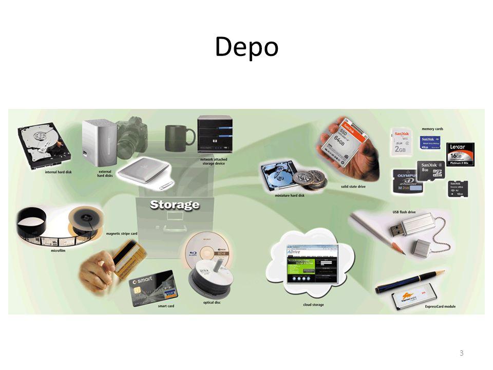 Depo Şekilde çeşitli depolama aygıtlarını görüyoruz.