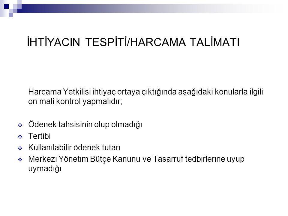 İHTİYACIN TESPİTİ/HARCAMA TALİMATI