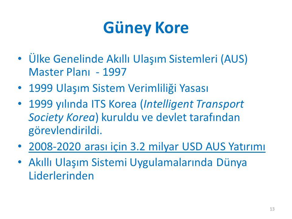 Güney Kore Ülke Genelinde Akıllı Ulaşım Sistemleri (AUS) Master Planı - 1997. 1999 Ulaşım Sistem Verimliliği Yasası.