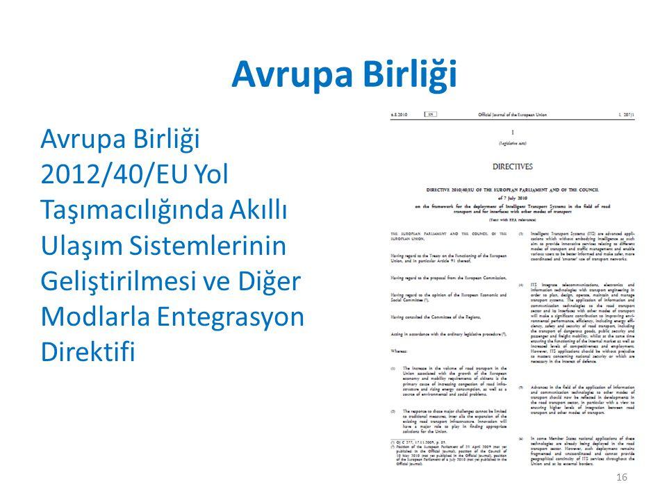 Avrupa Birliği Avrupa Birliği 2012/40/EU Yol Taşımacılığında Akıllı Ulaşım Sistemlerinin Geliştirilmesi ve Diğer Modlarla Entegrasyon Direktifi.