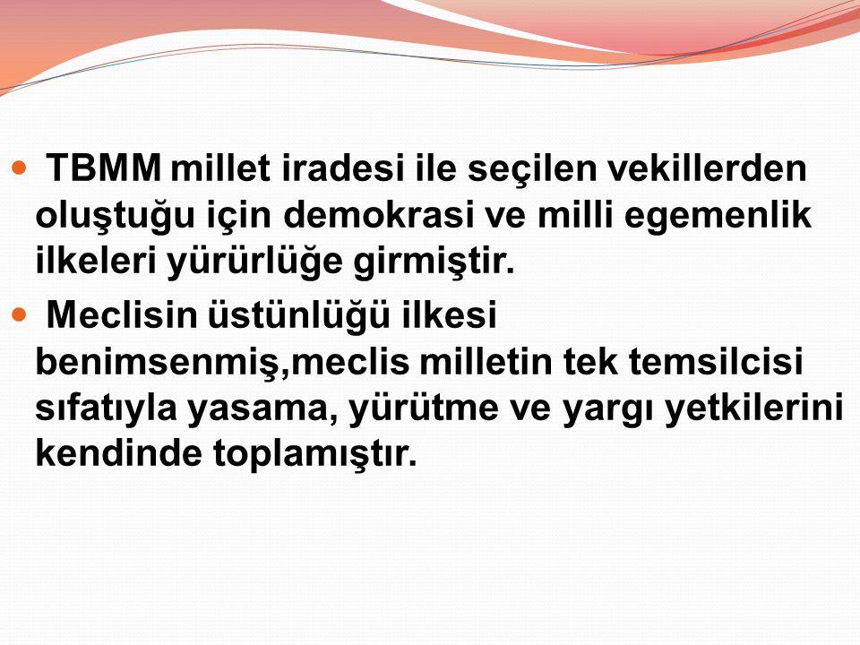 TBMM millet iradesi ile seçilen vekillerden oluştuğu için demokrasi ve milli egemenlik ilkeleri yürürlüğe girmiştir.