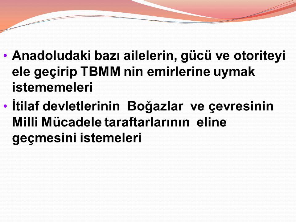 Anadoludaki bazı ailelerin, gücü ve otoriteyi ele geçirip TBMM nin emirlerine uymak istememeleri