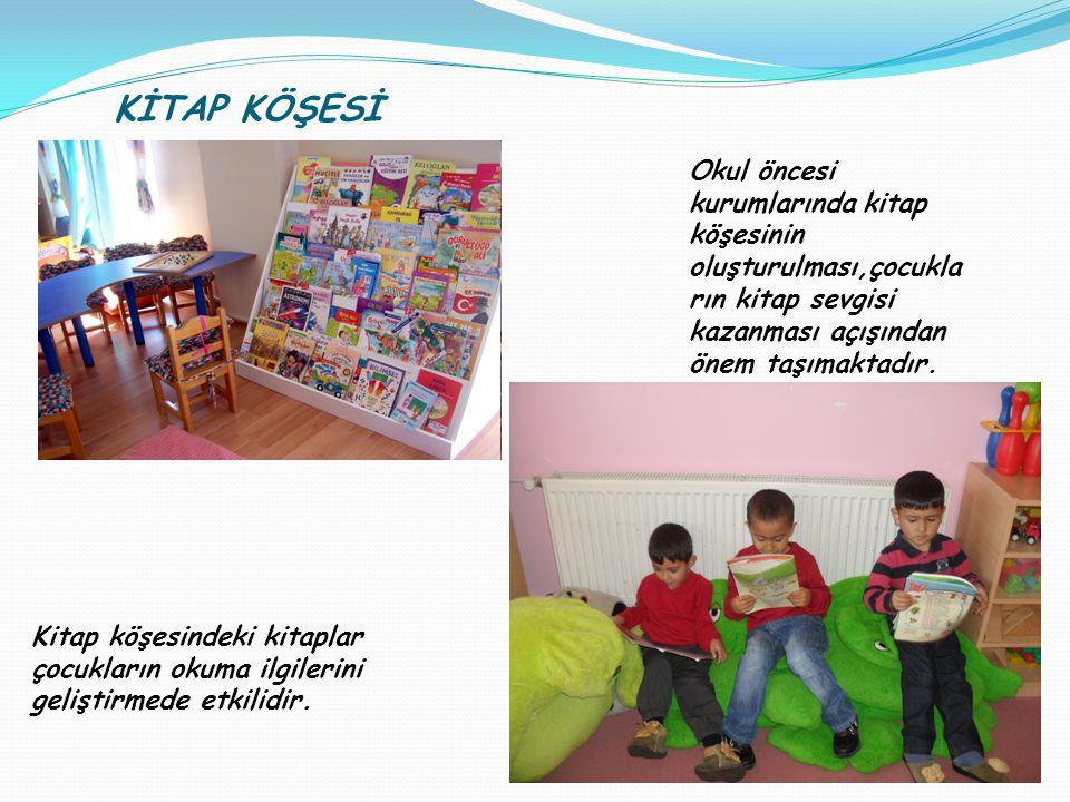 KİTAP KÖŞESİ Okul öncesi kurumlarında kitap köşesinin oluşturulması,çocukların kitap sevgisi kazanması açışından önem taşımaktadır.