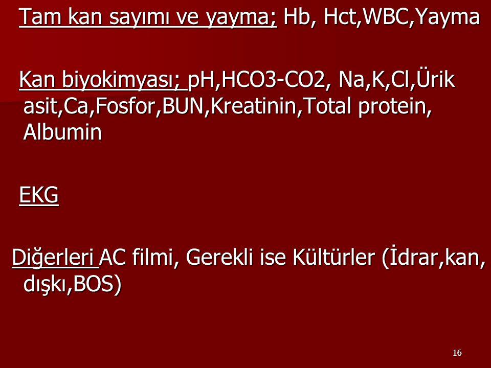 Tam kan sayımı ve yayma; Hb, Hct,WBC,Yayma