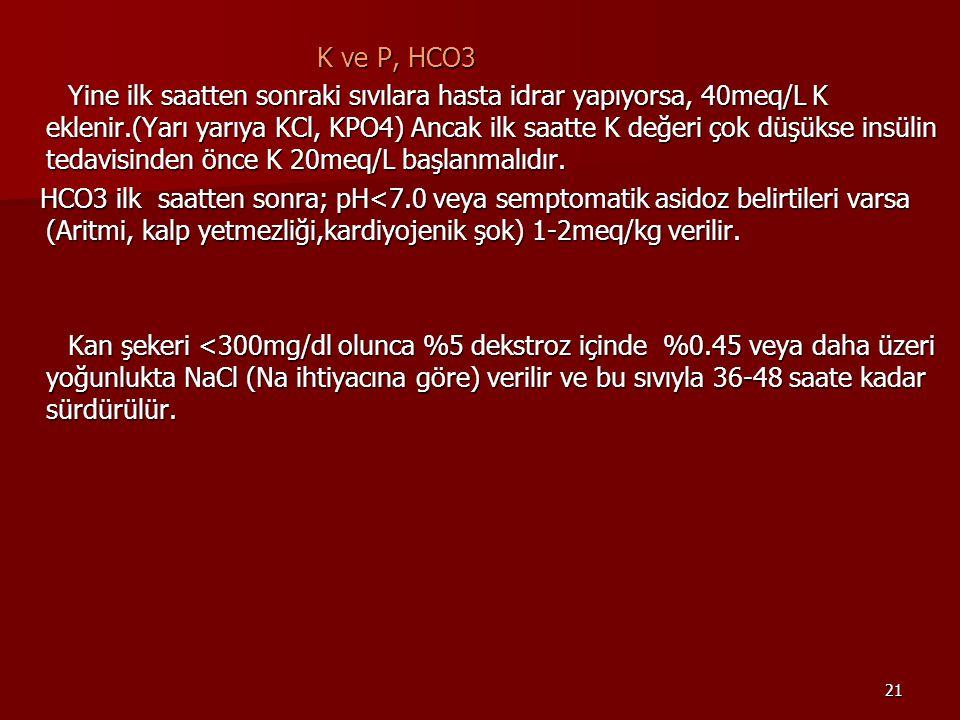 K ve P, HCO3