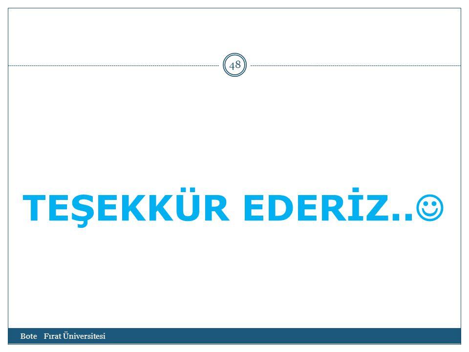 TEŞEKKÜR EDERİZ.. Bote Fırat Üniversitesi