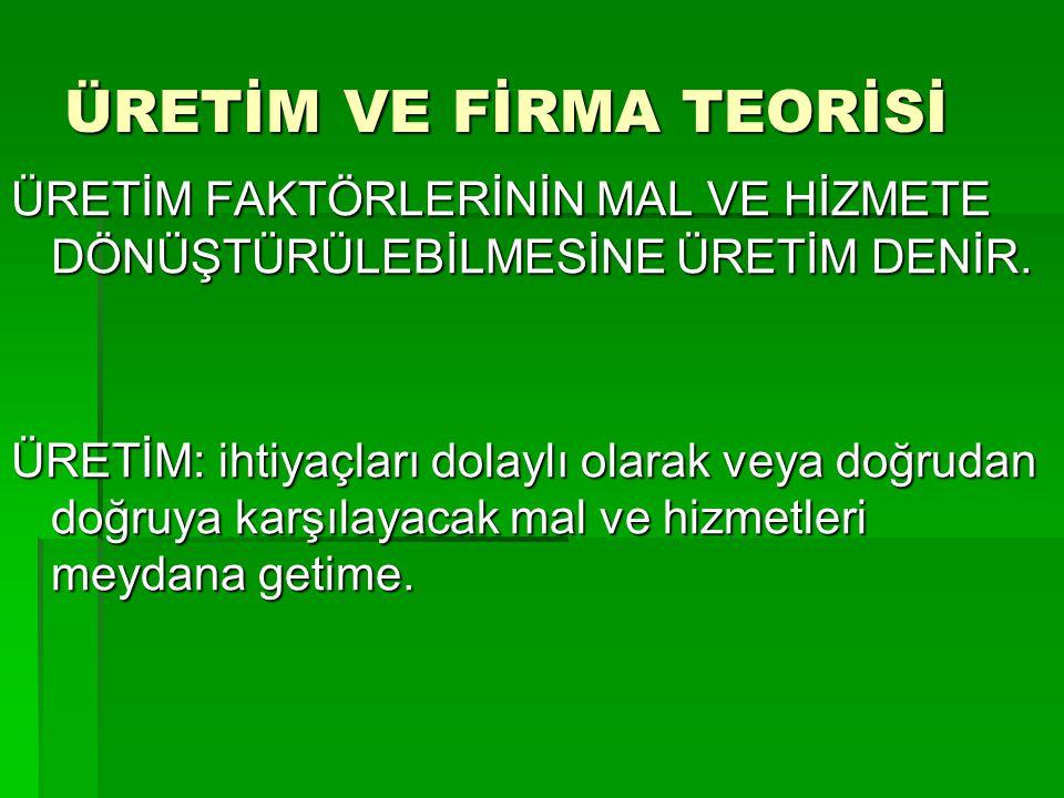 ÜRETİM VE FİRMA TEORİSİ